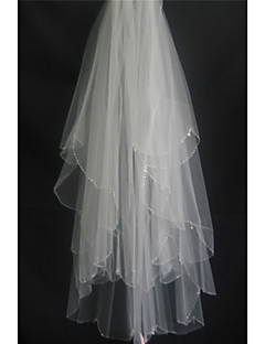 Two-tier - Beaded Edge - Classic - Fingertip Veils ( White/Ivory/Beige , Scattered Crystals Style/Bead )