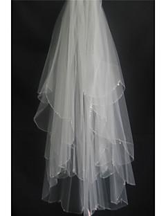 Menyasszonyi fátyol Kétkapcsos Ujjakig érő fátyol Gyöngydíszítésű szegély Tüll Fehér Elefántcsontszín Bézs