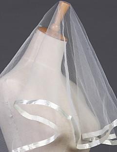 Voiles longueur coude ( Blanc/Ivoire , Tulle , Ruban ) Ovale - Bord ruban