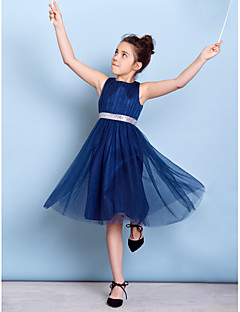 Lanting Bride® Knee-length Tulle Junior Bridesmaid Dress A-line Jewel with Draping / Sash / Ribbon / Sequins