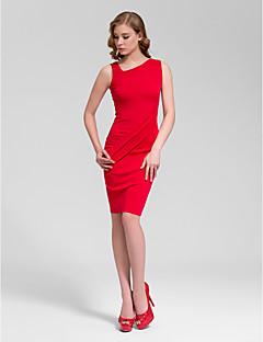 Cocktail Party Dress - Fuchsia / Ruby / Black Plus Sizes Sheath/Column V-neck Short/Mini Cotton