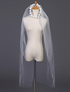 Wedding Veil Two-tier Elbow Veils / Headpieces with Veil Cut Edge 39.37 in (100cm) Tulle White / Ivory