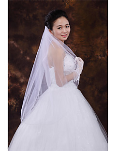 Wedding Veil One-tier Fingertip Veils Beaded Edge Tulle White / Ivory / Beige