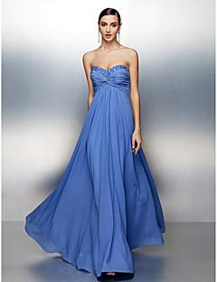 ts couture® Kleid plus Größe / zierlich Mantel / Spalte Liebsten bodenlangen Chiffon mit Perlen / Kreuzschnürung