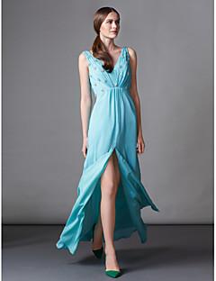 ts alta costura vestido de noche formal - vaina verde jade / cal / columna de barrido con cuello en V / gasa tren cepillo