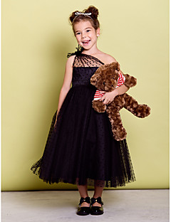 Dress - Black A-line One Shoulder Tea-length Tulle