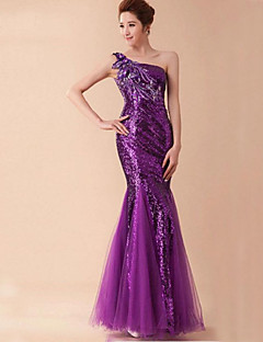 Trumpet/Mermaid One Shoulder Floor-length Cotton/Velet Chiffon Dress