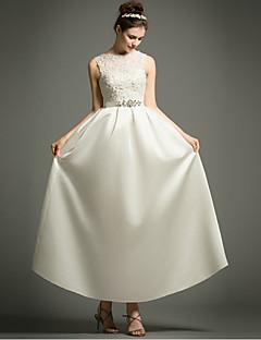 A-linje brudekjole liten hvit kjole ankel-lengde bateau satin med applikasjoner beading sash / bånd