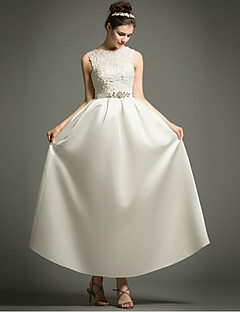 A-line Wedding Dress Little White Dress Ankle-length Bateau Satin with Appliques Beading Sash / Ribbon