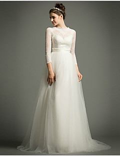 A-line Sweep/Brush Train Wedding Dress -High Neck Tulle