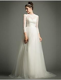 웨딩 드레스 - 아이보리(색상은 모니터에 따라 다를 수 있음) A 라인 스위프/브러쉬 트레인 하이넥 튤