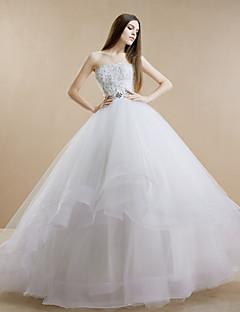웨딩 드레스 - 화이트 볼 가운 스위프/브러쉬 트레인 튜브탑 레이스/튤/스트래치 새틴