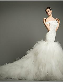 웨딩 드레스 - 아이보리(색상은 모니터에 따라 다를 수 있음) 핏 & 플레어 채플 트레인 오프 더 숄더 튤