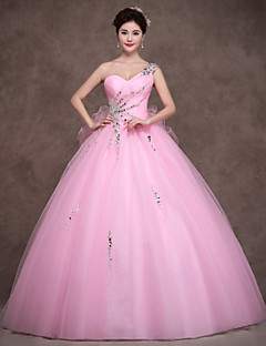 Formal Evening Dress - Sparkle & Shine Ball Gown Sweetheart Floor-length Satin Tulle Stretch Satin withCrystal Detailing