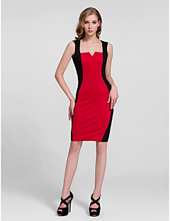 Cocktail Party Dress - Burgundy/Royal Blue Sheath/Column Queen Anne Knee-length Cotton
