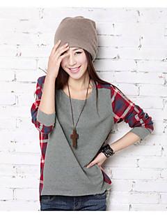 T-Shirts ( Coton mélangé ) Informel Rond à Manches longues pour Femme