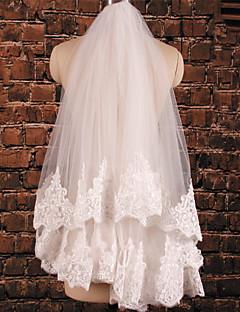 두층 - 레이스처리된 가장자리 팔꿈치 베일 ( 화이트/아이보리 , 새해장식 )