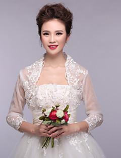 mariage enveloppe boléros 3/4 longueur manches en organza / polyester dentelle enveloppe blanche bolero haussement