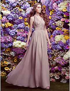 LAN TING BRIDE Floor-length Chiffon Bridesmaid Dress - Sheath / Column Halter Plus Size / Petite with Criss Cross
