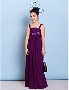 Floor-length Chiffon Junior Bridesmaid Dress - Grape Sheath/Column Straps