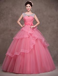 저녁 정장파티 드레스 - 펄 핑크 볼 가운 바닥 길이 스쿱 사틴/명주그물/폴리에스터