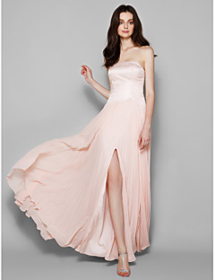 Floor-length Chiffon/Lace Bridesmaid Dress - Pearl Pink Sheath/Column Strapless