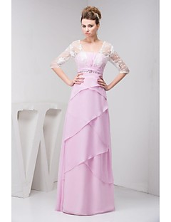 Mother of the Bride Dress Floor-length Half Sleeve Chiffon and Lace A-line Dress