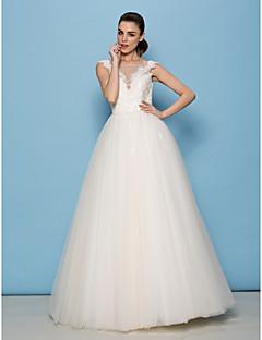 LAN 팅 라인 / 공주 웨딩 드레스 - 아이보리 바닥 길이 특종 레이스 / 얇은 명주 그물