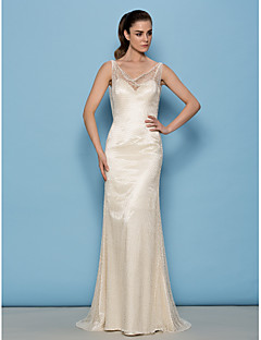 Lanting Bride Lanting Sheath/Column Wedding Dress - Ivory Sweep/Brush Train Cowl Lace