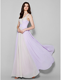 Lanting Bride Floor-length Chiffon Bridesmaid Dress Sheath / Column Straps Plus Size / Petite with Criss Cross
