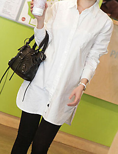 Women's Casual/Daily Simple Summer Shirt,Solid Shirt Collar Long Sleeve White Thin