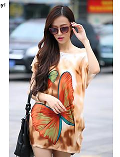 Vrouwen Eenvoudig / Street chic Zomer T-shirt,Casual/Dagelijks Print Ronde hals Korte mouw Bruin / Grijs Zijde Dun