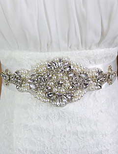 Satin Wedding/Party Bride Sash With Pearls/Rhinestone