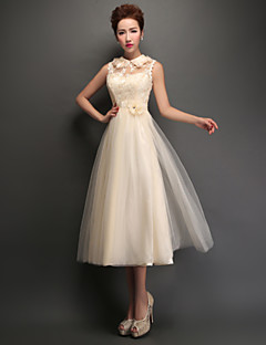 Tea-length Tulle Lace-up Bridesmaid Dress - A-line High Neck with Appliques / Lace