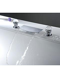Moderne Udspredt Foss with  Keramisk Ventil To Håndtak tre hull for  Krom , Bathroom sink tappekran