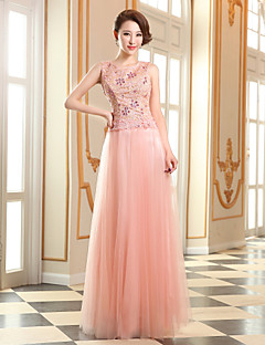 Formal Evening Dress - Pearl Pink Plus Sizes Sheath/Column Jewel Floor-length Tulle