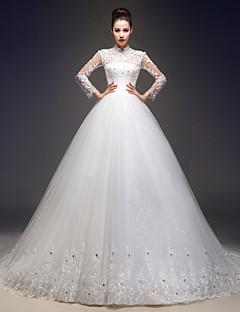 웨딩 드레스 - 아이보리(색상은 모니터에 따라 다를 수 있음) A 라인 쿼트 트레인 하이넥 레이스 / 튤