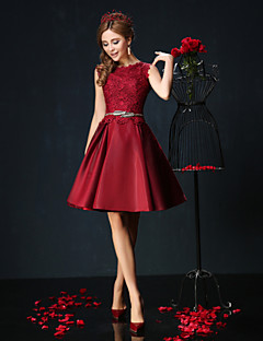 Ball Gown Jewel Neck Short / Mini Lace Charmeuse Cocktail Party Dress