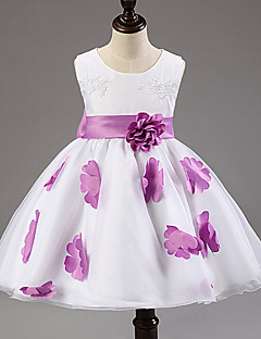 A-line Tea-length Flower Girl Dress - Cotton/Tulle/Polyester Sleeveless