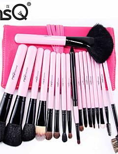 msq® 18pcs dierlijk haar roze make-up kwast sets