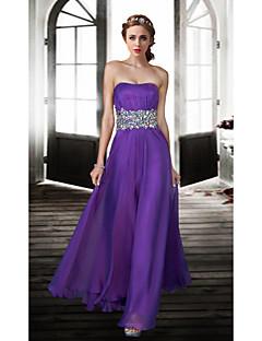 Formal Evening Dress A-line Strapless Floor-length Chiffon Dress