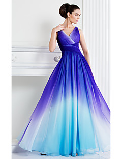 TS Couture Formal Evening Dress - A-line V-neck Floor-length Chiffon