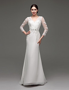 A-line Wedding Dress See-Through Wedding Dresses Sweep / Brush Train V-neck Chiffon / Lace with Appliques / Sash / Ribbon
