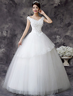 Vestido de Noiva - Branco Princesa Ombro a Ombro Comprido Renda