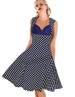 Women's Vintage Dot Party Sleeveless Ball Gown Slim Madi Dress