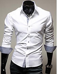 Menn Langermet Skjorte Akryl/Bomullsblanding/Lycra Fritid/Arbeid/Formelt Ensfarget