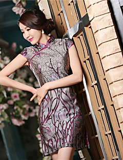 Cocktail Party Dress - Gray Sheath/Column High Neck Short/Mini Satin