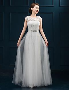 Formal Evening Dress - White Plus Sizes A-line Jewel Floor-length Lace