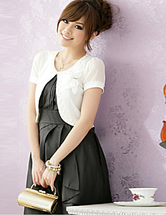 Wedding Wraps Short Sleeve Chiffon/Polyester Elegant Boleros Black/White/Pink Bolero Shrug