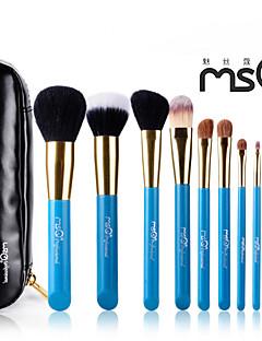 msq® 10st blauwe wol make-up borstel set